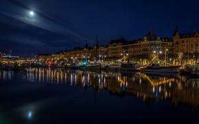 Wallpaper river, promenade, lights, night, the moon, boats, lights, court, Sweden, Stockholm, home, the sky