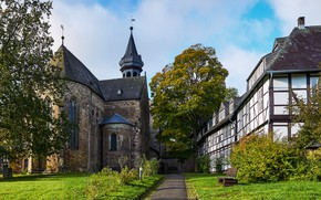 Picture greens, grass, the sun, trees, lawn, home, Germany, Church, the bushes, Goslar