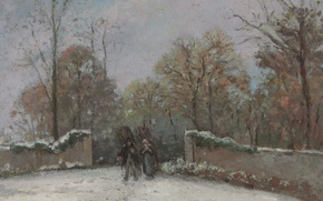Picture landscape, people, the fence, picture, Camille Pissarro, The entrance to the Forest of Marly. Snow …