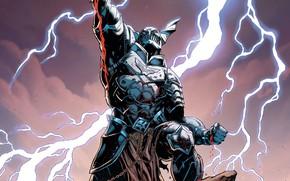 Picture fantasy, Batman, lightning, comics, digital art, artwork, fantasy art, DC Comics, Ares, dark multiverse, Merciless