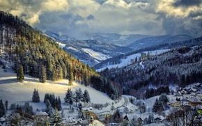 Wallpaper winter, snow, trees, mountains, nature, Germany, slope, Muggenbrunn