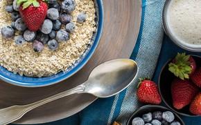 Wallpaper blueberries, oatmeal, strawberry
