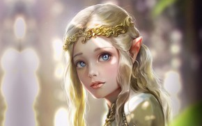 Wallpaper Bluish Salt, art, Princess, fantasy, girl, elf, elf, Elven princess