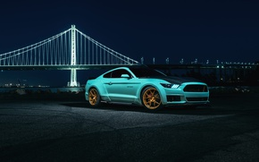 Wallpaper Mustang, Ford, Blue, Bridge, Night, Wheels, Rohana