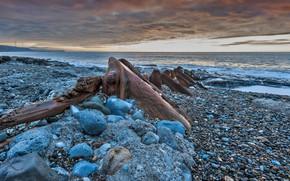 Wallpaper stones, the wreckage, shore, Cumbria, England