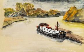 Picture autumn, landscape, river, figure, ship, pier, watercolor, barge