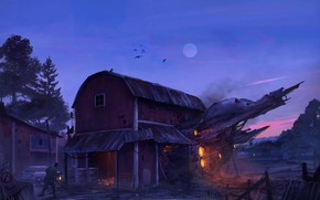 Picture moon, house, fantasy, trees, night, science fiction, machine, birds, man, fence, sci-fi, digital art, artwork, …