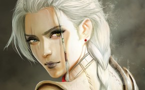 Wallpaper look, girl, face, fantasy, art, blonde, braid
