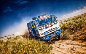 Picture The sky, Sand, Nature, Grass, Sport, Speed, Stones, Race, Master, Hills, Lights, Beauty, Russia, Kamaz, …