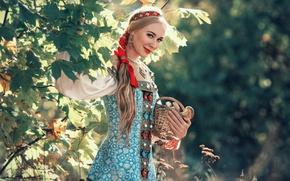 Picture forest, girl, decoration, foliage, mushrooms, blonde, tape, outfit, braid, maple, Russian, bokeh, sundress, basket, Russian …