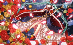 Picture crystal, snow, magic, crown, mantle, vocaloid, rod, Hatsune Miku, Vocaloid, blue hair, crinoline, red roses