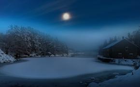 Wallpaper winter, night, house, fog