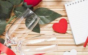 Picture Glasses, Roses, Holiday, Valentine's day, Heart, Notepad