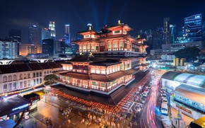 Picture building, Singapore, temple, Museum, night city, Singapore, Buddha Tooth Relic Temple and Museum