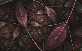 Wallpaper pattern, fractal, leaves, background, abstraction