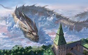 Picture the city, dragon, anime