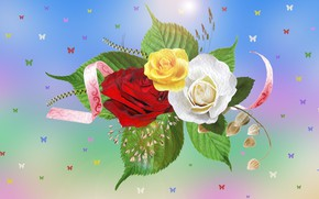 Picture graphics, Flowers, roses, moths