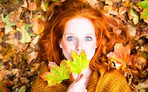 Picture autumn, look, leaves, girl, makeup, hairstyle, lies, freckles, red, jacket, the view from the top, …