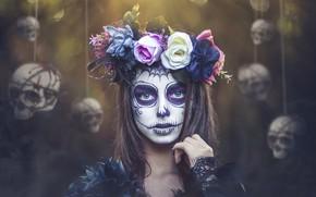 Wallpaper wreath, skull, girl, Kobi Alony, makeup, Day of the Dead