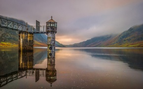Picture mountains, nature, lake, tower, Wales, Llyn Could
