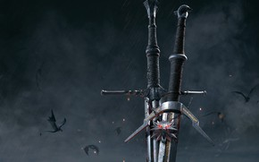 Wallpaper The Witcher 3: Wild Hunt, weapons, medallion, swords, The Witcher 3: Wild Hunt