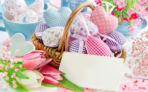 Picture flowers, basket, spring, Easter, hearts, tulips, happy, heart, flowers, tulips, spring, Easter, eggs, delicate, decoration, …