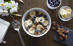 Picture Breakfast, milk, blueberries, nuts, banana, cereal