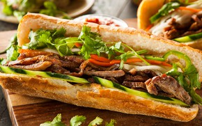 Picture meat, sandwich, vegetables, roll, salad