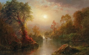 Wallpaper nature, landscape, Autumn, Frederic Edwin Church, picture