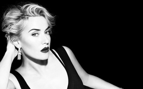 Picture look, pose, actress, black and white, Kate Winslet, Kate Winslet
