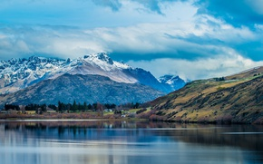Picture the sky, clouds, mountains, lake, New Zealand