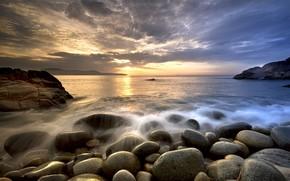 Wallpaper sunset, stones, beach, Nature, sea
