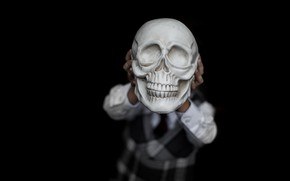 Picture background, skull, hands