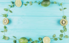 Picture kiwi, lime, wood, blue, leaves, fruits