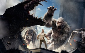 Picture City, Action, Fantasy, Fire, Flame, White, Wolf, 2018, Dwayne Johnson, EXCLUSIVE, Movie, Kate, Film, Crocodile, ...