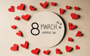 Wallpaper hearts, March 8, hearts, Women's Day