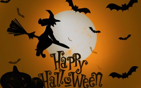 Wallpaper the moon, witch, Halloween, mouse, picture