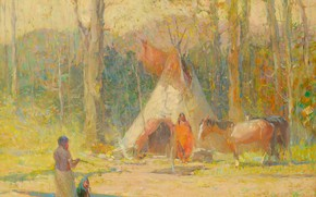 Picture forest, horse, Oscar Edmund Berninghaus, ca.1930, Making Camp