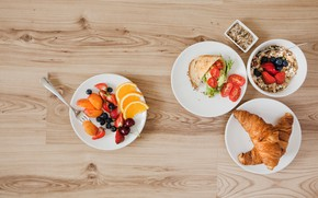 Picture berries, food, Breakfast, salad, croissant, oatmeal