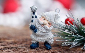 Picture needles, branch, Santa Claus, figure, bokeh, Christmas toy