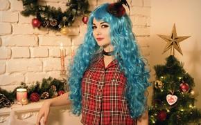 Picture girl, holiday, Christmas, New year, tree, cosplay, The Felisa Belial, Christmas elf