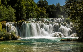Picture forest, trees, river, waterfall, Sunny, Croatia, Krka National Park