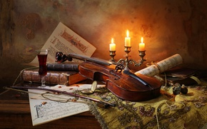 Wallpaper notes, wine, violin, books, candles, bow, Still life with violin and candles