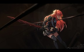 Wallpaper chtholly nota sen, weapons, shuumatsu nani shitemasu ka?, shuang ye, anime, wound, form, blood, sword, ...