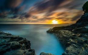 Picture the sky, sunset, stones, the ocean, rocks, coast, horizon, Hawaii, USA