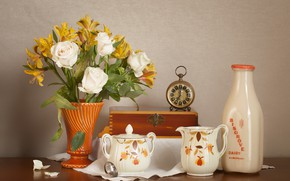 Picture flowers, watch, roses, bouquet, dishes, Alstroemeria
