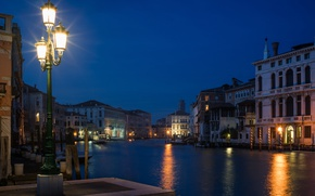 Picture night, lights, river, home, lights, Italy, Venice, channel