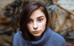 Picture look, girl, face, background, portrait, makeup, hairstyle, brown hair, sweater, bokeh