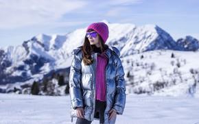 Picture winter, girl, snow, sweetheart, hat, glasses, jacket, beautiful, snowy mountains, Karina Kozyreva