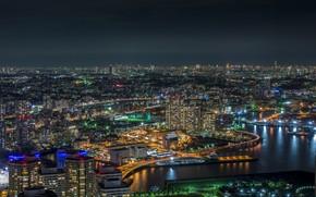 Picture night, lights, Japan, Tokyo, Yokohama Bay